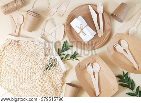 Zero Waste, Plastic-free And Eco-friendly Living. Paper Disposable Tableware, Wooden Cutlery And Cot