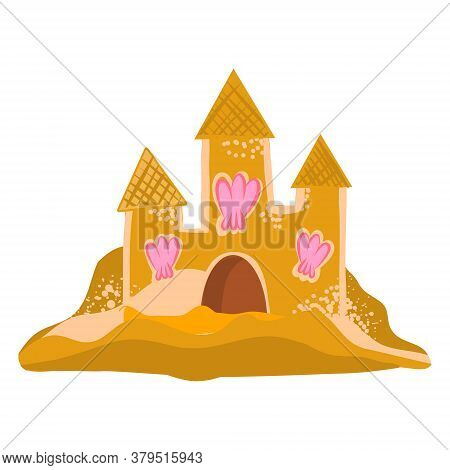 Vector Illustration Of A Sand Castle With Seashells. Clip Art, Sticker, Cute Flat Style Illustration