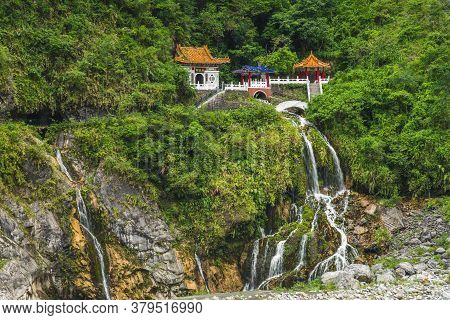 Scenery Of Taroko At Eternal Spring Shrine In Hualien, Taiwan. The Translation Of The Chinese Text I