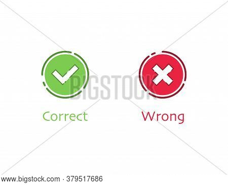 Correct And Wrong Checkbox Tick. Positive And Negative Survey. Yes And No Checkmark In Green And Red