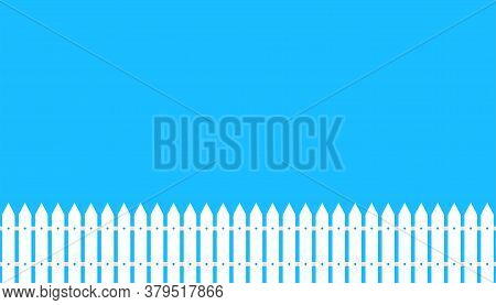 White Wooder Fence. Illustration Of Board Barrier In Flat Design On Blue Background. Picket Yard Vec
