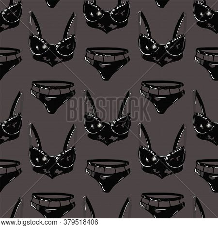 Vector Pattern Erotic Lingerie. Lingerie, Bras And Panties. Black And White Pattern Clothing.