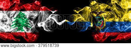 Lebanon Vs Ecuador, Ecuadorian Smoky Mystic Flags Placed Side By Side. Thick Colored Silky Abstract