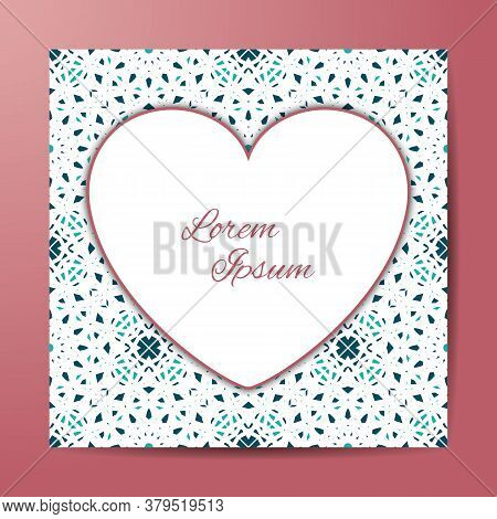 Vector Card Or Invitation With Heart. Openwork Filigree Template For Wedding, Bridal, Valentines Day