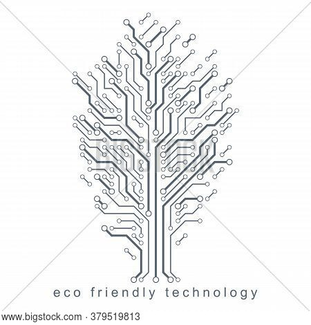 Art Vector Illustration Of Digital Tree Made Using Lines Mesh As Branches. Technology And Nature Int