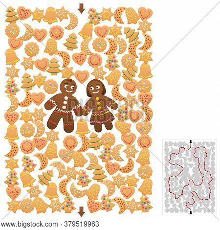 Christmas Maze, Cookies Labyrinth Game With Gingerbread Man And Woman. Find The Right Way Through Th