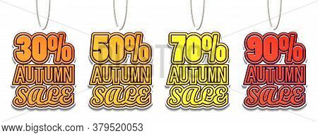 30, 50, 70, 90% Autumn Sale. Color Sale Tags Design. Big Fall Sale For Your Business Project. Vector