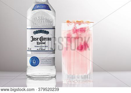 Rome, Italy - June 6, 2020: Jose Cuervo Especial Silver Tequila Bottle And Paloma Cocktail. The Espe