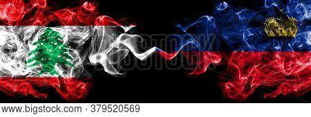 Lebanon Vs Liechtenstein, Liechtensteins Smoky Mystic Flags Placed Side By Side. Thick Colored Silky