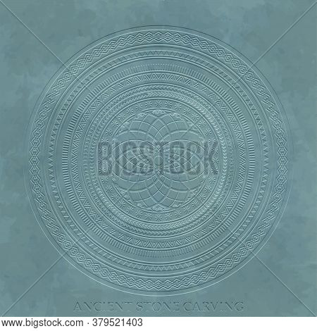 Ancient Stone Carving Geometric Pattern Or Ornament Vector Illustration