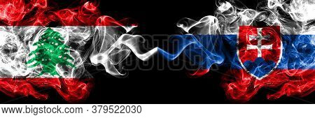 Lebanon Vs Slovakia, Slovakian Smoky Mystic Flags Placed Side By Side. Thick Colored Silky Abstract