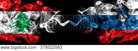 Lebanon Vs Slovenia, Slovenian Smoky Mystic Flags Placed Side By Side. Thick Colored Silky Abstract