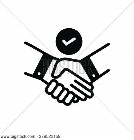 Black Solid Icon For Deal Pledge Promise Bargain Handshake Cooperation Agreement Unity Together