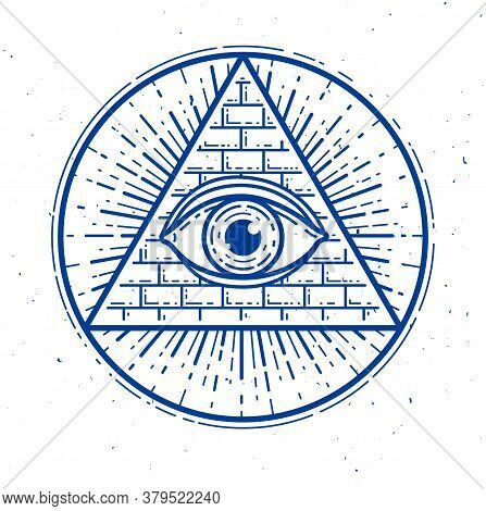 All Seeing Eye Of God In Sacred Geometry Triangle, Masonry And Illuminati Symbol, Vector Logo Or Emb