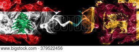 Lebanon Vs Sri Lanka, Sri Lankan Smoky Mystic Flags Placed Side By Side. Thick Colored Silky Abstrac