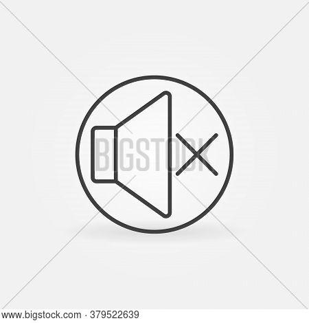 Sound Mute Vector Thin Line Concept Round Icon Or Design Element