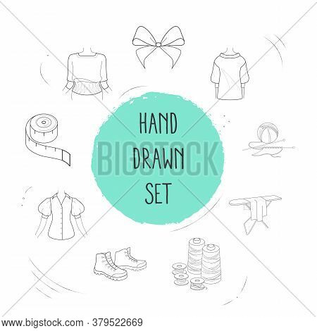 Set Of Garment Icons Line Style Symbols With Spool, Hiking Boots, Knitwear And Other Icons For Your