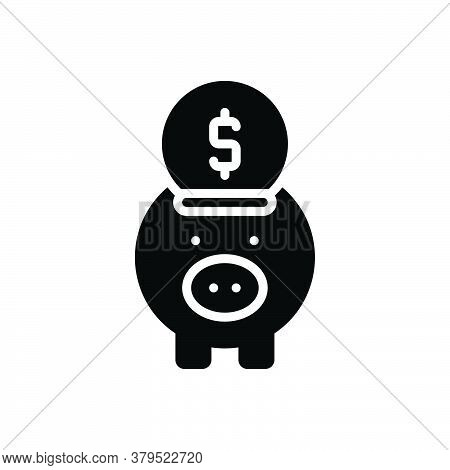 Black Solid Icon For Banking Piggy Save Money Wealth Cash Moneybox