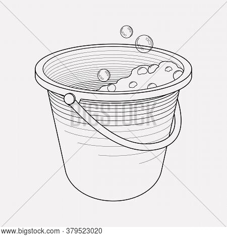 Bucket With Soap Foam Icon Line Element. Vector Illustration Of Bucket With Soap Foam Icon Line Isol