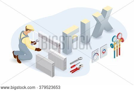 Convection Heater, Worker, Isometric Word Fix. Home Appliance Repairs. Vector.