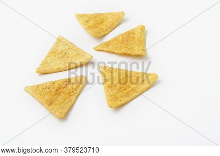 Triangle Nacho Chips Isolated On White Background