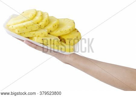 Healthy Eating, Dieting, Vegetarian Food And People Concept- Close Up Of Women Hands Holding Pineapp