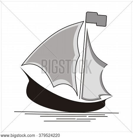Silhouette Of Ship Logo Design With Orange Moon Traditional Sailboat From Asia / Africa
