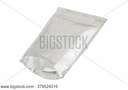 Foil Package Bag Isolated On White Background With Clipping Path