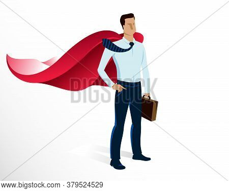 Businessman Superhero Vector Illustration, Young Handsome Business Man Standing Brave And Strong, Le