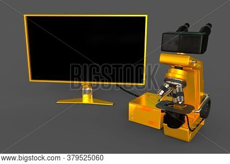 Yellow Professional Microscope, Cpu Block And Empty Display Isolated, Realistic 3d Illustration Of O