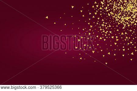 Yellow Dust Paper Burgundy Background. Bridal Triangle Background. Golden Splash Holiday Wallpaper.