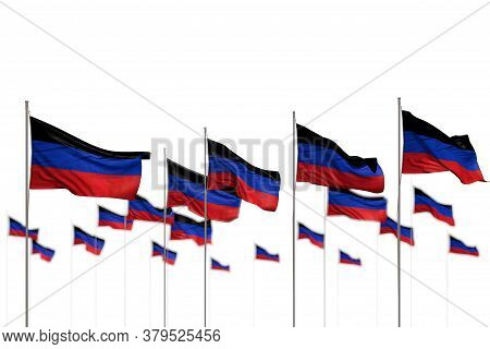 Nice Labor Day Flag 3d Illustration  - Donetsk Peoples Republic Isolated Flags Placed In Row With Bo