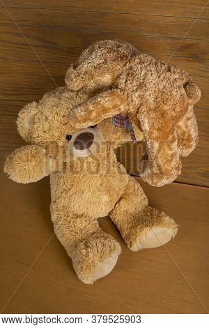 Teddy Bear With Little Bear Indoors Playing Throw It In A Wooden Floor And Wall.