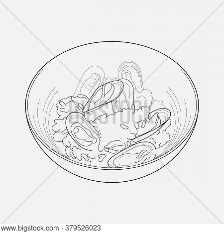 Seafood Risotto Icon Line Element. Illustration Of Seafood Risotto Icon Line Isolated On Clean Backg