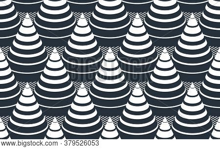 3d Cones Optical Seamless Pattern, Vector Repeat Tiling Background, Op Art Theme Textile Or Wrapping