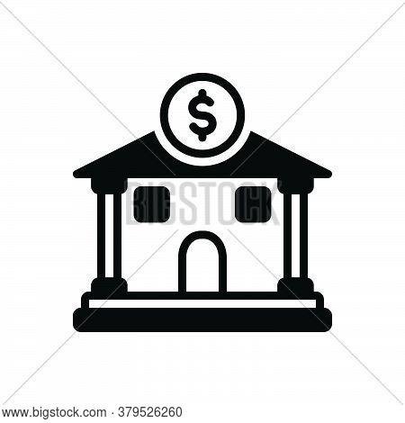Black Solid Icon For Bank Money-dealing Money-lending Emolument Revenues Saving Corporate Building I