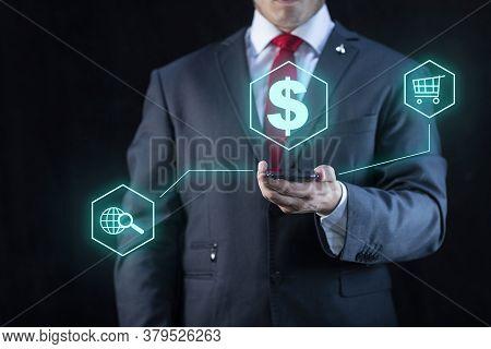 Elegant And Technology Businessman With Virtual Portfolio Of Services On Dark Background.