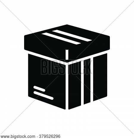 Black Solid Icon For Box Pack  Packing Parcel Shipping Container  Case