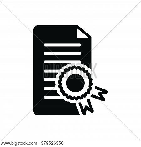 Black Solid Icon For Certificate Affidavit Authentication Authorization Diploma Credential  Warranty