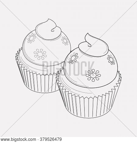 Cupcakes Icon Line Element. Illustration Of Cupcakes Icon Line Isolated On Clean Background For Your