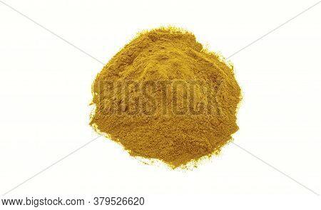 Yellow Mustard Powder Texture On White Background.