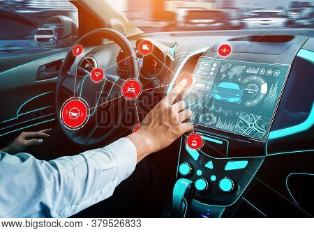 Driverless Car Interior With Futuristic Dashboard For Autonomous Control System . Inside View Of Coc