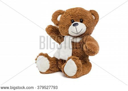 Teddy Bear Soft Toy On White Background.