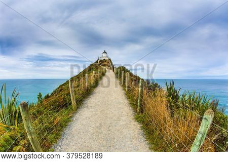 Direct path protected by a fence leads to the lighthouse. Nugget Point Lighthouse on the Cape Nugget. New Zealand. The concept of active, environmental and photo tourism