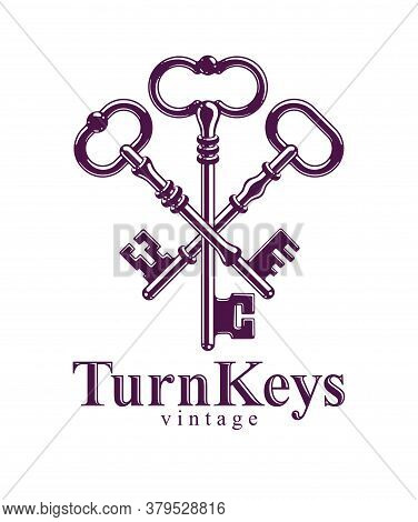 Crossed Keys, Vintage Antique Turnkeys Vector Logo Or Emblem, Protected Secret, Electronic Data Prot