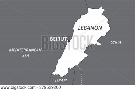 Detailed Map Of Lebanon With Cities. Vector Illustration