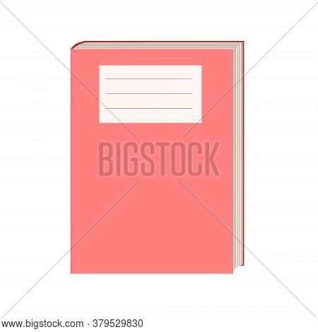 A Closed Book Isolated On A White Background. Vector Flat Textbook Illustration With Empty Space For