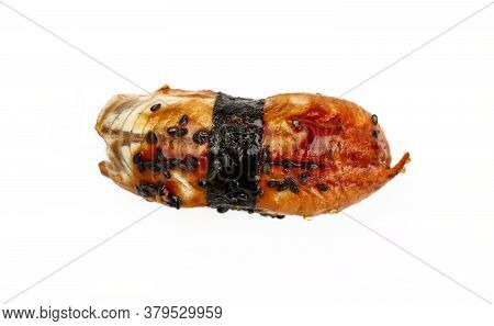 Close Up One Unagi Nigiri Sushi With Eel Isolated On White Background, Elevated, High Angle View, Di