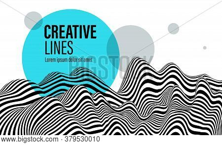 3d Black And White Lines In Perspective With Blue Circle Splat Abstract Vector Background, Linear Pe