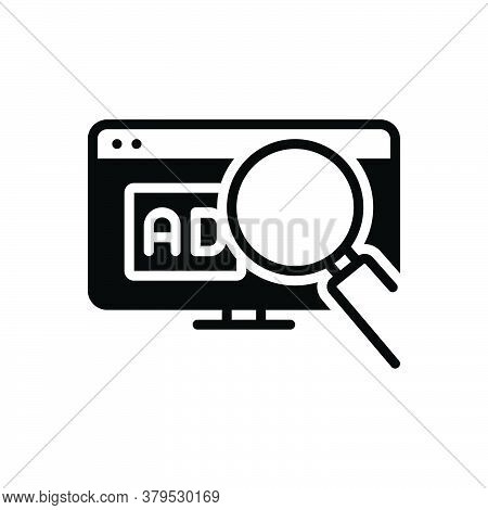 Black Solid Icon For Search-ad Search Ad Digital Magnifier Online Promotion Sign Website Advertiseme